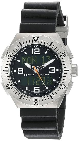 Momentum Format 4 - Reloj analógico - digital de caballero de cuarzo con correa de goma negra (alarma) - sumergible a 100 metros: Amazon.es: Relojes