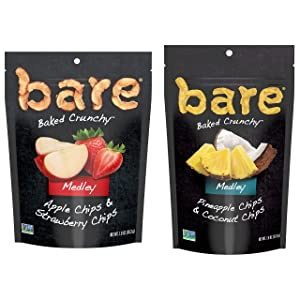 bare Medleys Fruit Snack Pack, Gluten Free Snacks, Apple Strawberry and Pineapple Coconut Flavor Variety (6 Count)