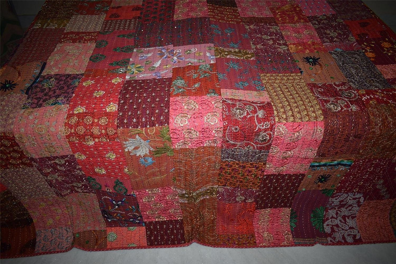 Amazon.com: Indio de seda patola Kantha Vintage colcha ...