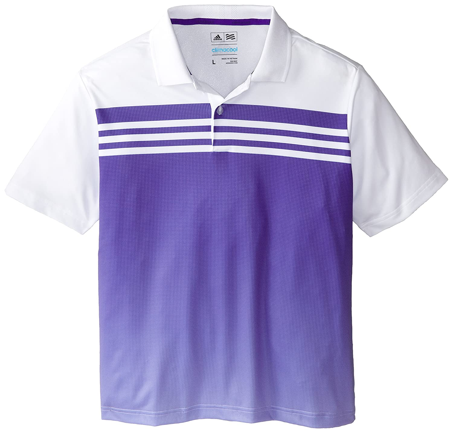 adidas Golf Boys 3 Stripes Gradient Polo (Big Kids), White/Night ...