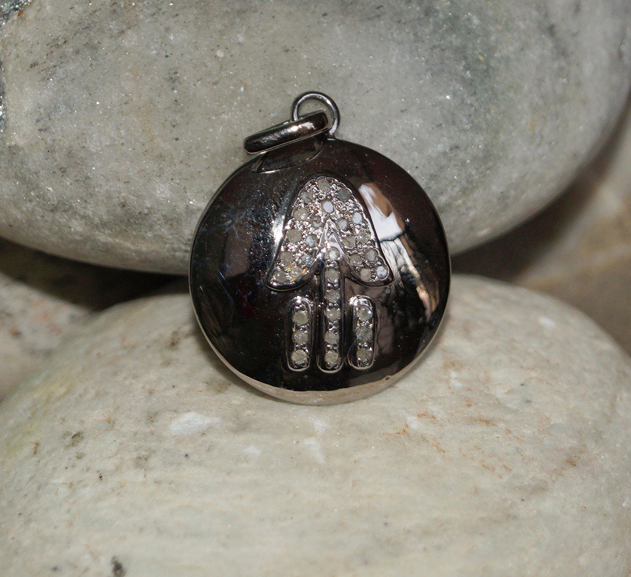 Boho Round Disc Humsa Pave Diamond Oxidized Sterling silver Pendant Charm Finding