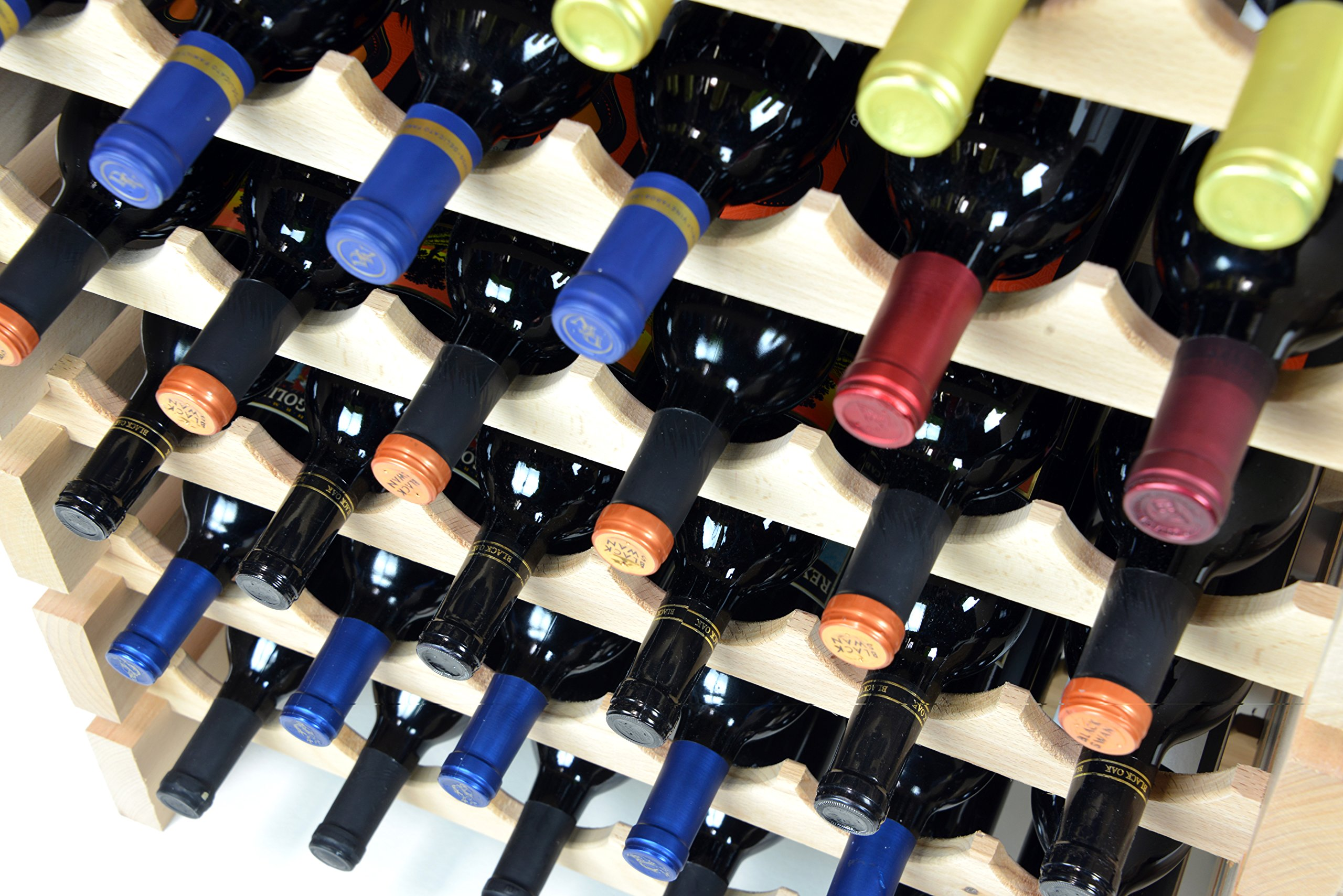 Modular Wine Rack Beechwood 48-144 Bottle Capacity 12 Bottles Across up to 12 Rows Newest Improved Model (120 Bottles - 10 Rows) by sfDisplay.com,LLC. (Image #5)