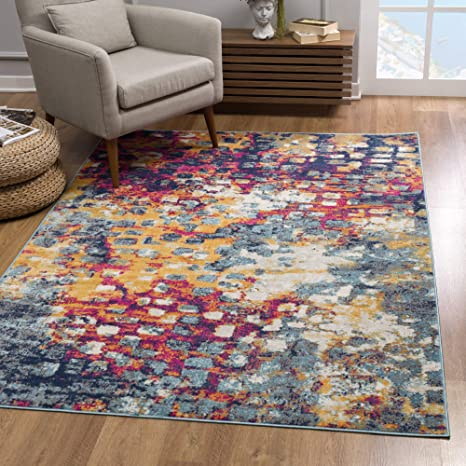 Rug Branch Savannah Modern Area Rug 7x10 Feet Abstract 6 7 X 9 7 Blue Red Yellow Amazon Ca Home Kitchen