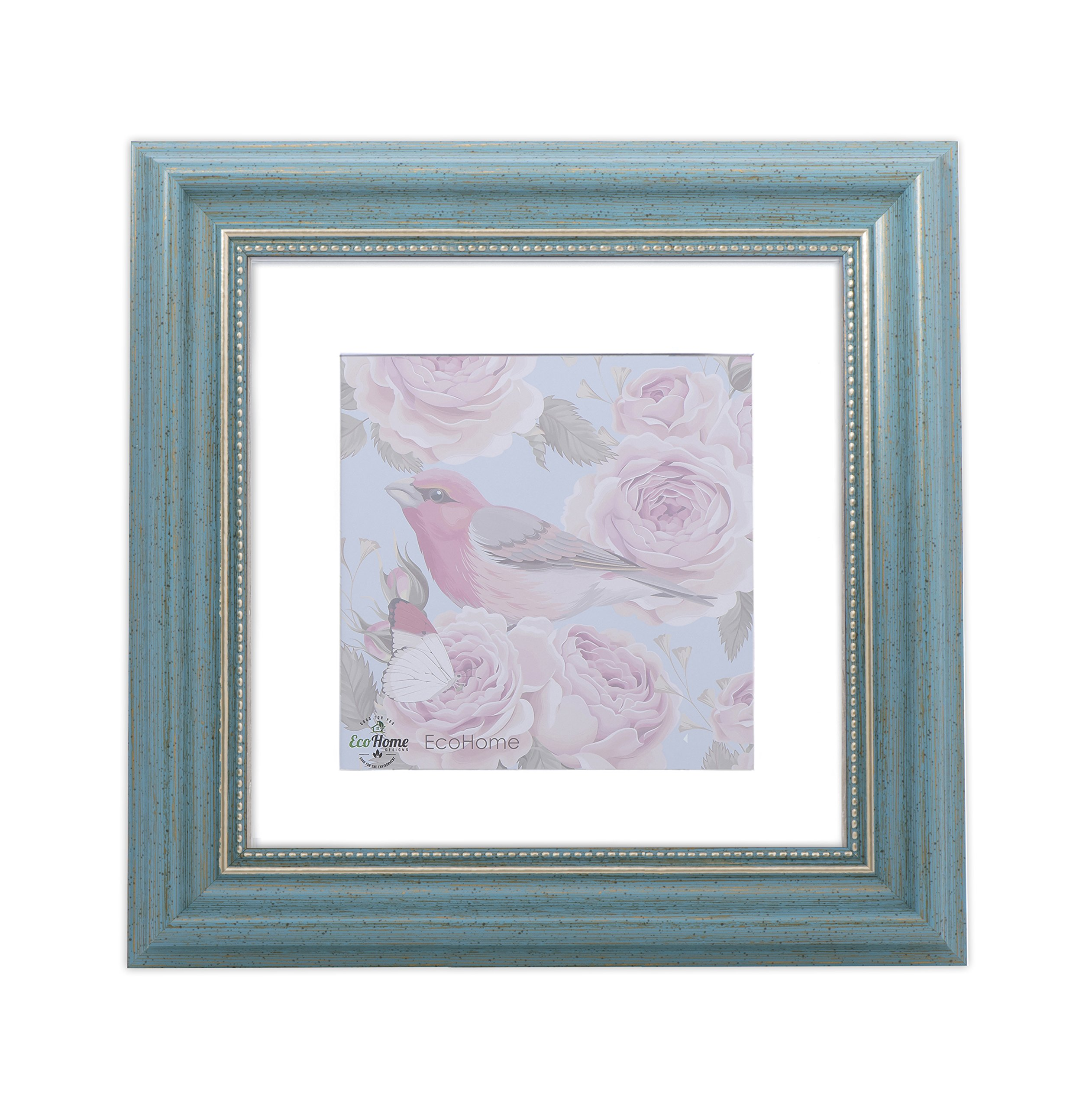 EcoHome 11x11 Picture Frame Teal - Gold Matted for 8x8 Pictures & 11x11 Pictures Without mat - Hanging Kit Included
