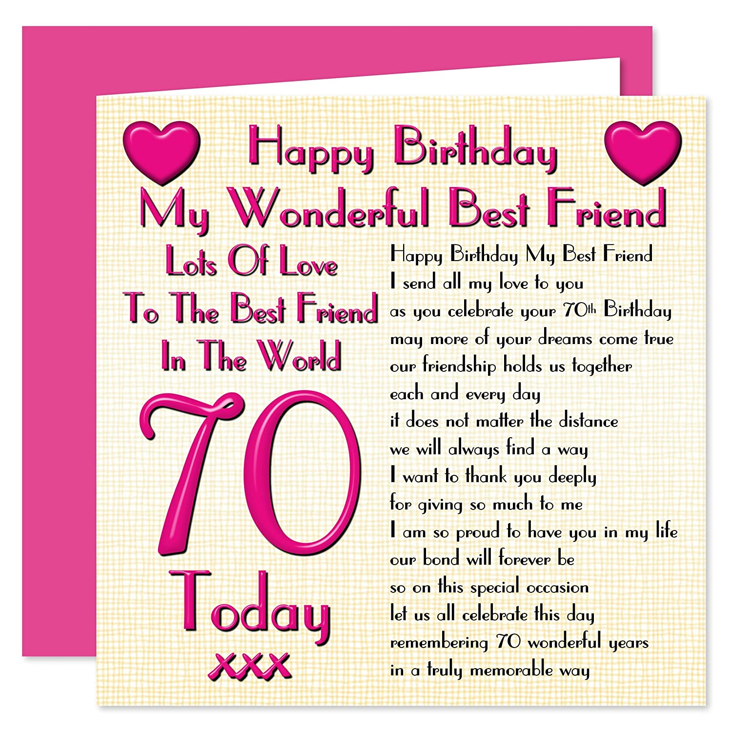 Happy 70th birthday to a wonderful friend with special wishes 70 best friend 70th happy birthday card lots of love to the best friend in the bookmarktalkfo Choice Image