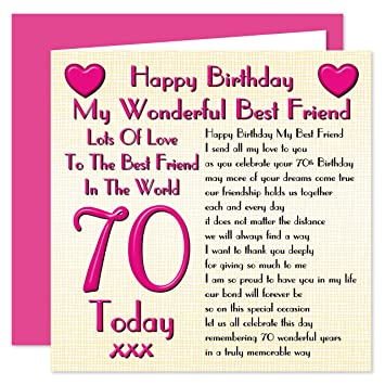 Best Friend 70th Happy Birthday Card Lots Of Love To The Best