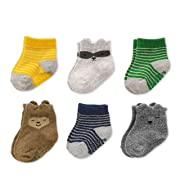 Baby Boys Socks 6 Pack with Non-Slip Grippers, 3-12 Months