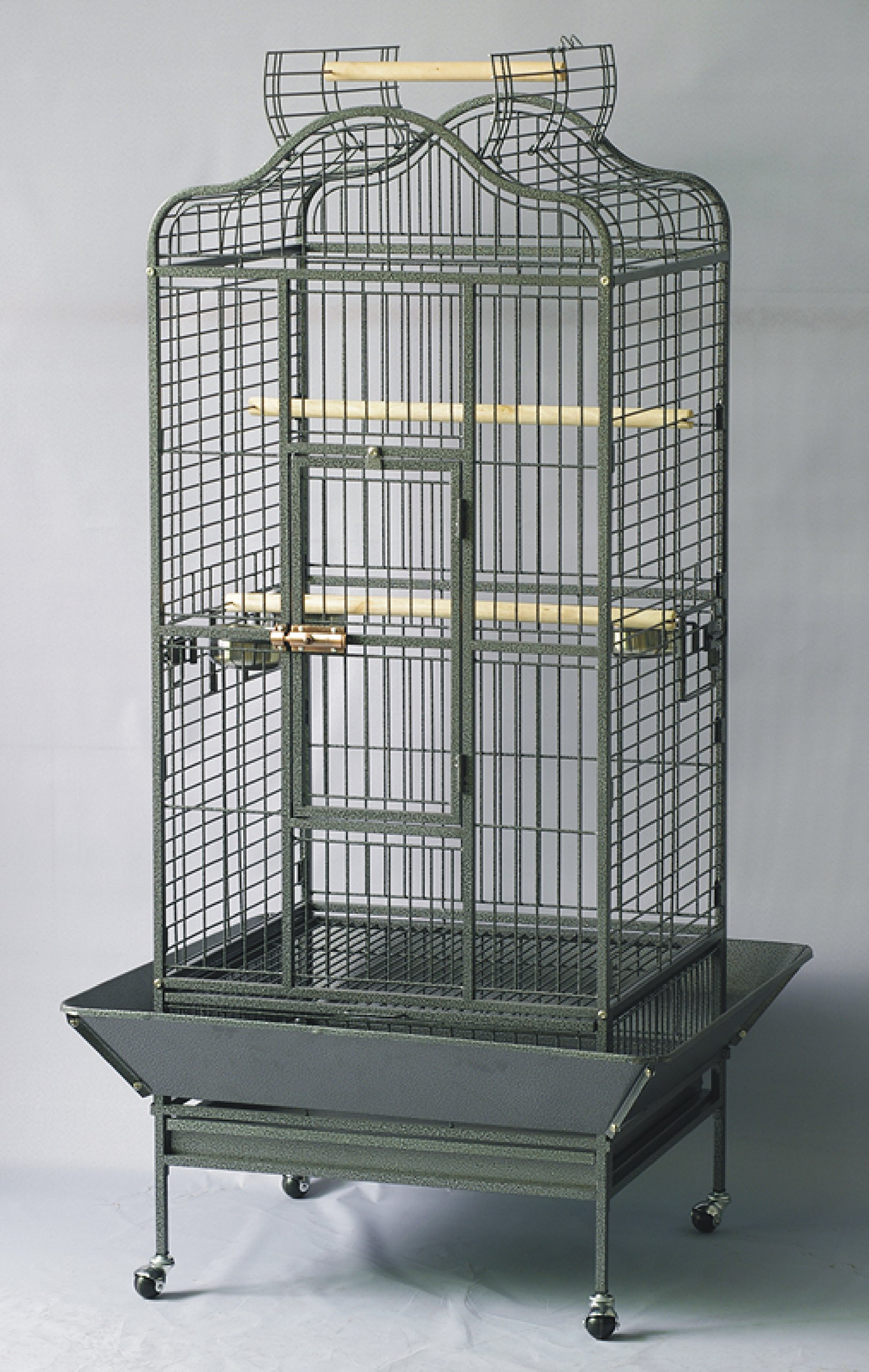 Homey Pet L24''xW22''xH61'' Large Parrot Cage, Open Playtop, Black Hammer Spray