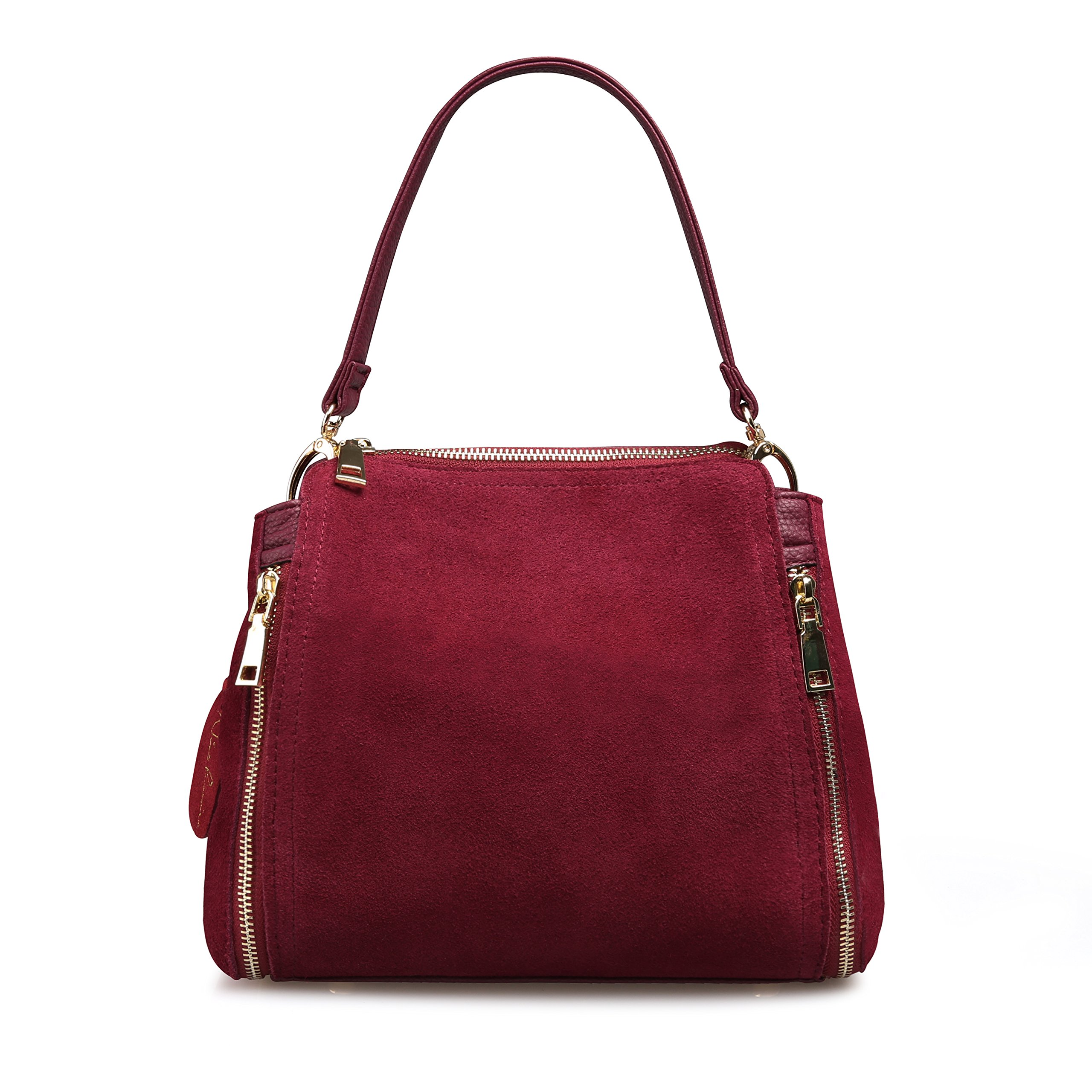 Women Real Suede Leather Shoulder Bag Leisure Doctor Handbag For Female Girls Top-handle (Burgundy)
