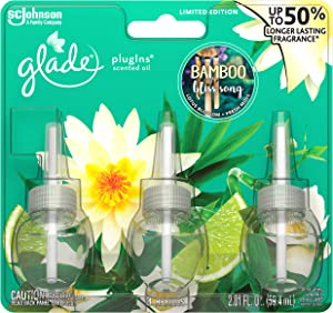Glade PlugIns Scented Oil Air Freshener Refill - Limited Edition | Bamboo Bliss Song Scent - 3 Count Oil Refills Per Package (0.67 Ounce Each) - One (1) Package (Total - 2.01 Fl. Oz.)
