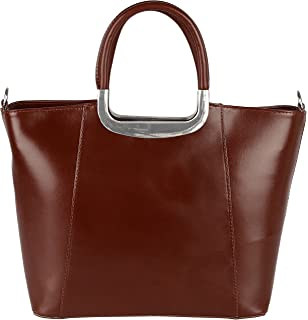 modamoda de - ital. Ledertasche Damentasche Shopper Tragetasche Elegant Echtleder T132, Präzise Farbe:Fraise modamoda de - Made in Italy