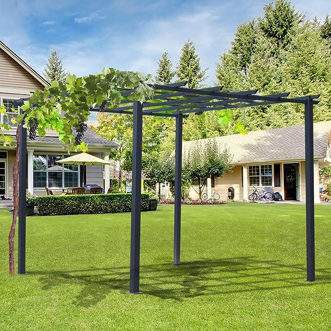 Outsunny - Pérgola de jardín con Estructura de Metal, Color Negro, 300 x 300 x 230 cm: Amazon.es: Jardín