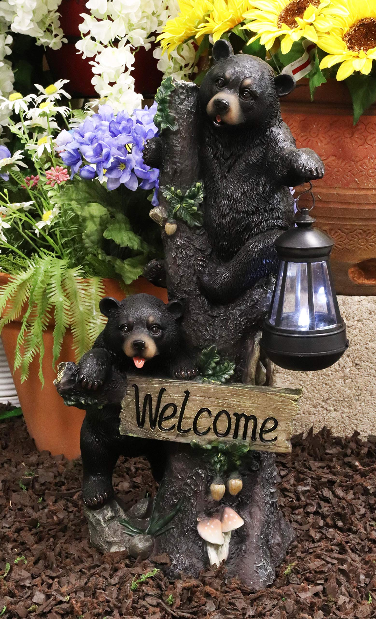 Ebros Climbing Black Bear Cubs Garden Light Statue Figurine Solar LED Lantern Light Welcome Sign Guest Greeter Decor for Patio Poolside Garden Home by Ebros Gift