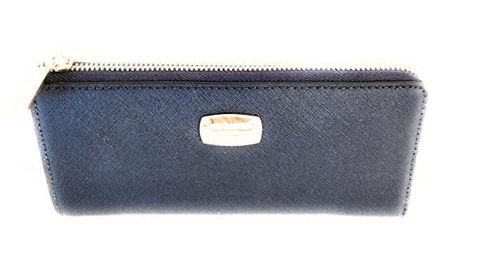 4e46d9276666 Michael Kors Jet Set Travel Large Three Quarter Zip Around Leather Wallet  (Navy)