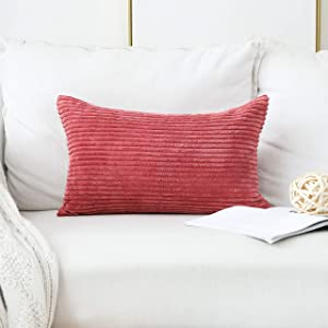 Home Brilliant Decorative Striped Corduroy Solid Cushion Cover Throw Oblong Pillowcase for Girl's Room, 12 x 20 inches, Dry Rose Pink