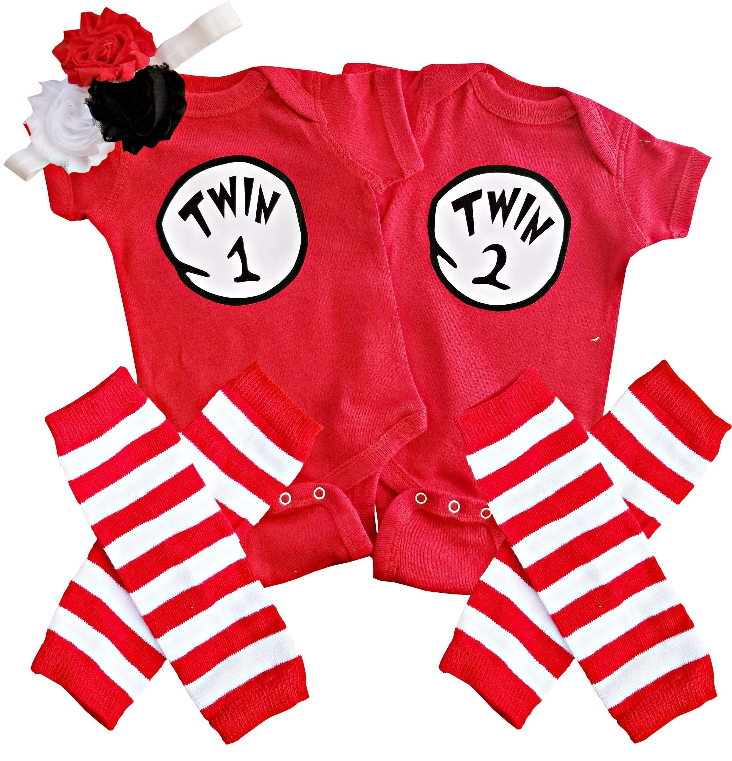 Perfect Pairz Boy Girl Unisex Twin Outfits Twin 1 Twin 2 (w/Leggings)(6M Long Sleeve) by Perfect Pairz