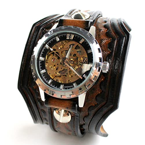 Amazing Hand Tooled Leather Watch With Steampunk Watch