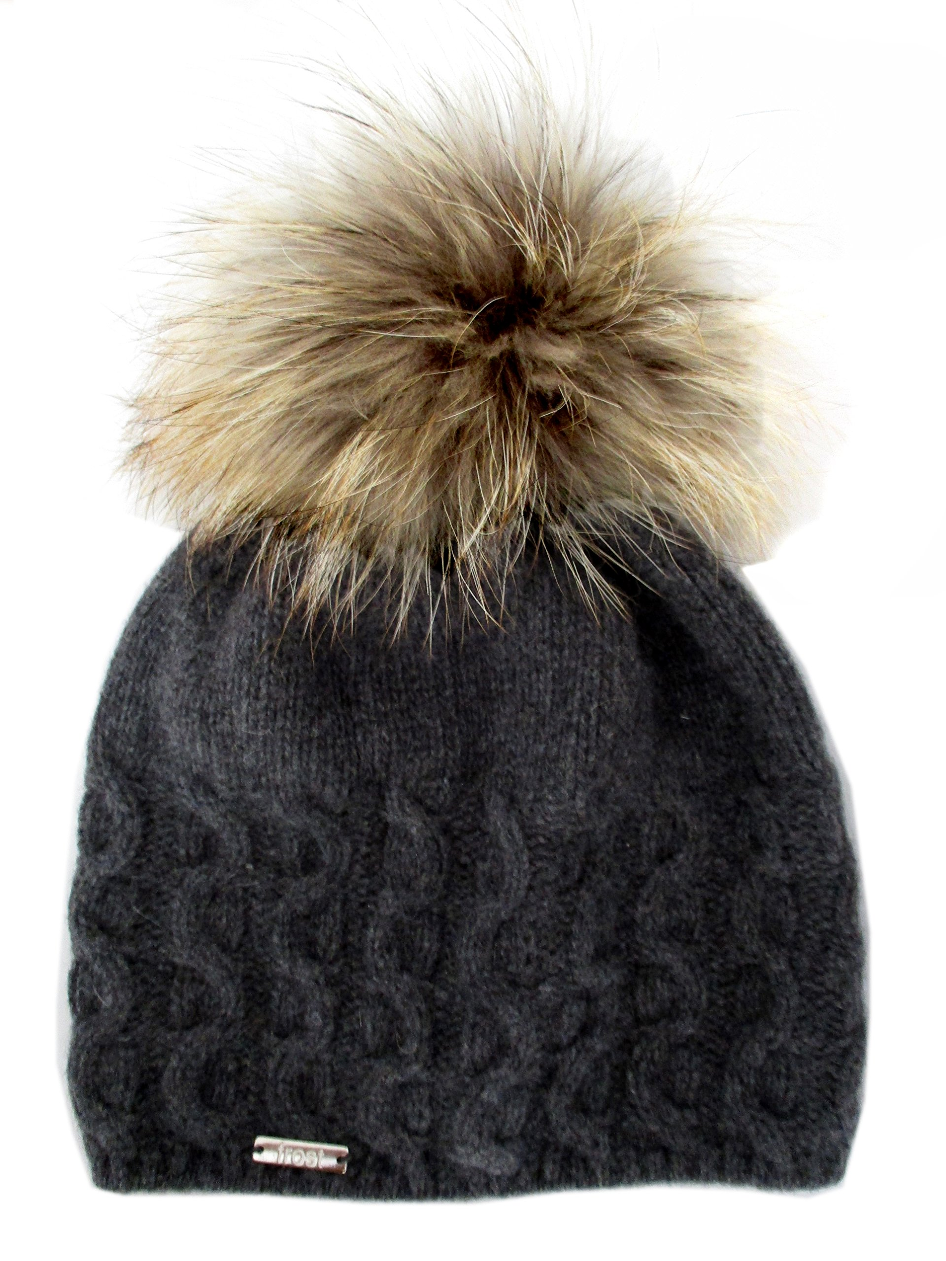 Frost Hats Cashmere Cable Hat with Detachable Genuine Fox Fur Pom CSH-735SRN (Charcoal2)
