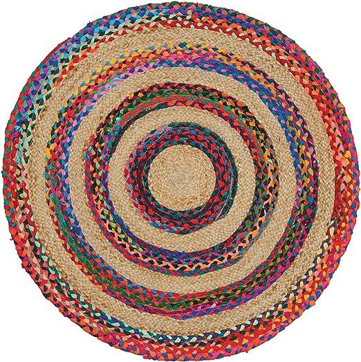 Indian Arts - Alfombra redonda de yute y algodón 100% trenzada ...