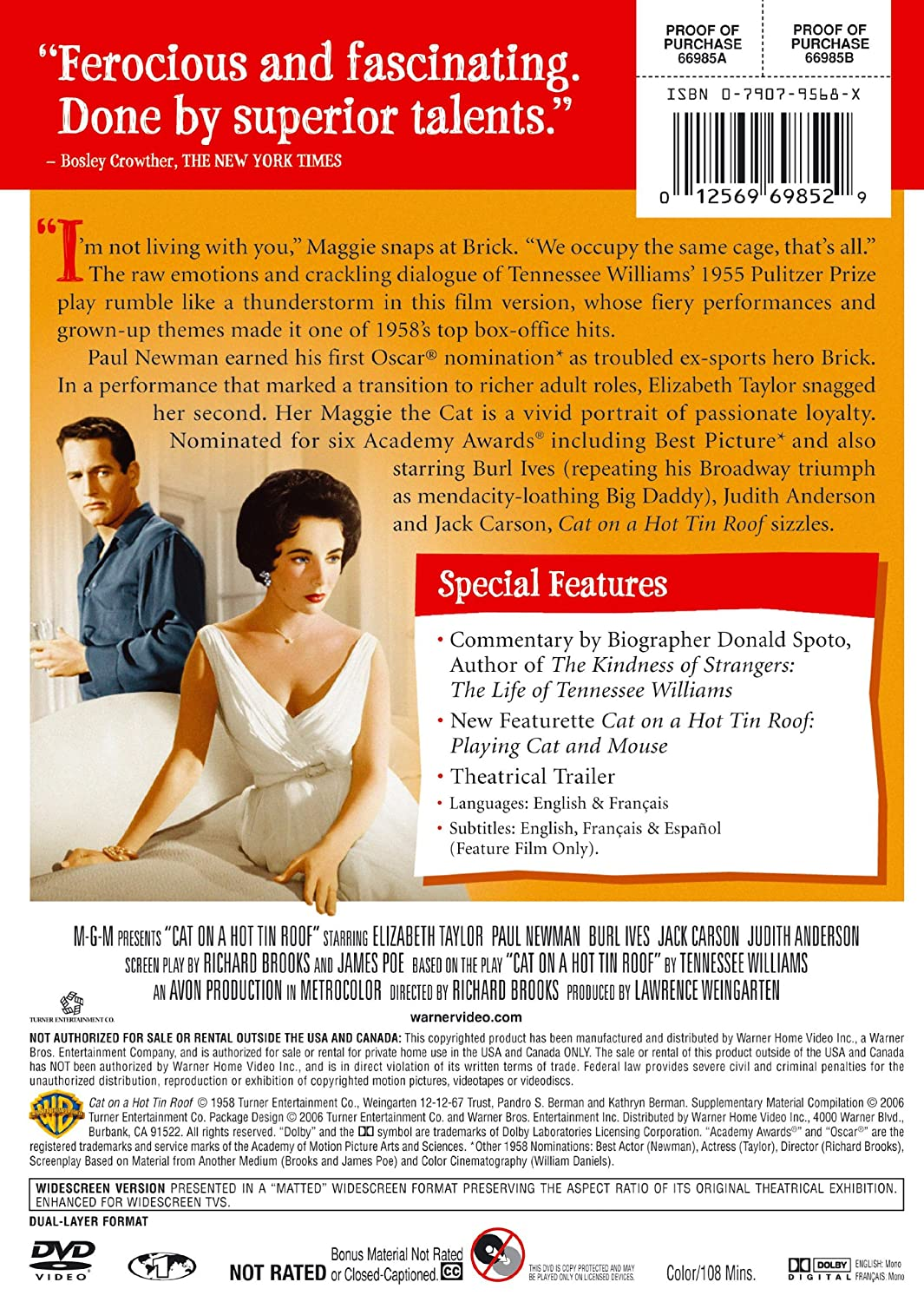 Amazon.com: Cat On A Hot Tin Roof (Deluxe Edition): Elizabeth Taylor, Paul  Newman, Burl Ives, Jack Carson, Judith Anderson, Madeleine Sherwood, Larry  Gates, ...