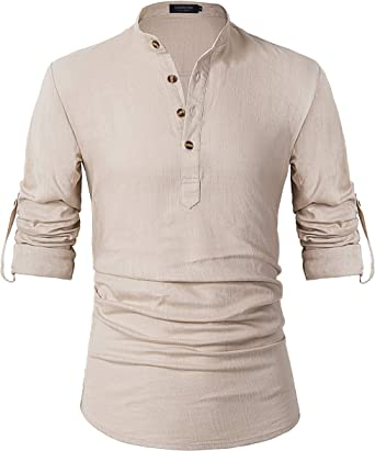 Leisurely Pace Men Henley Neck Long Sleeve Daily Look Linen Shirts