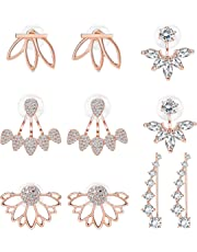 Milacolato 5 pairs Hollow Lotus Flower Ear Jackets For Women Girls Ear Stud Simple Chic Earrings