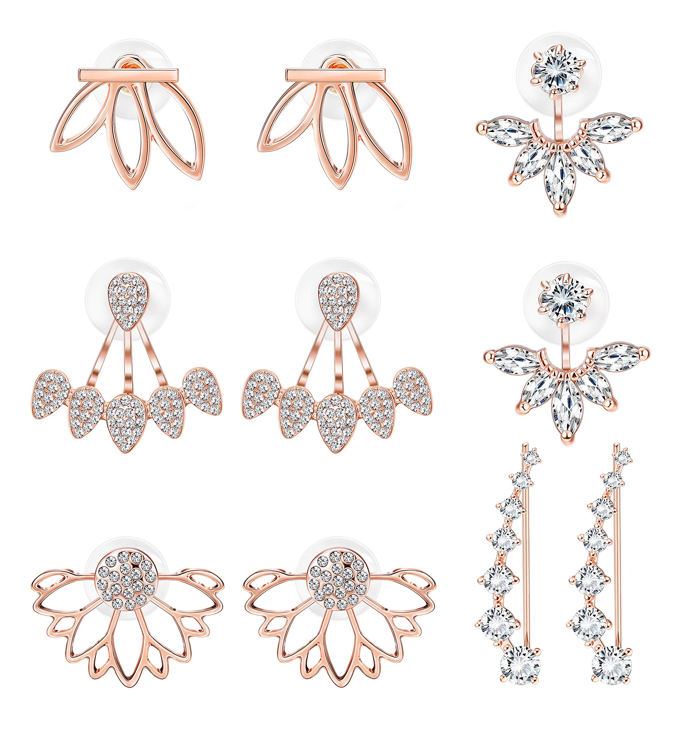 Milacolato 5 pairs Hollow Lotus Flower Ear Jackets For Women Girls Ear Stud Simple Chic Earrings Rose-gold by Milacolato