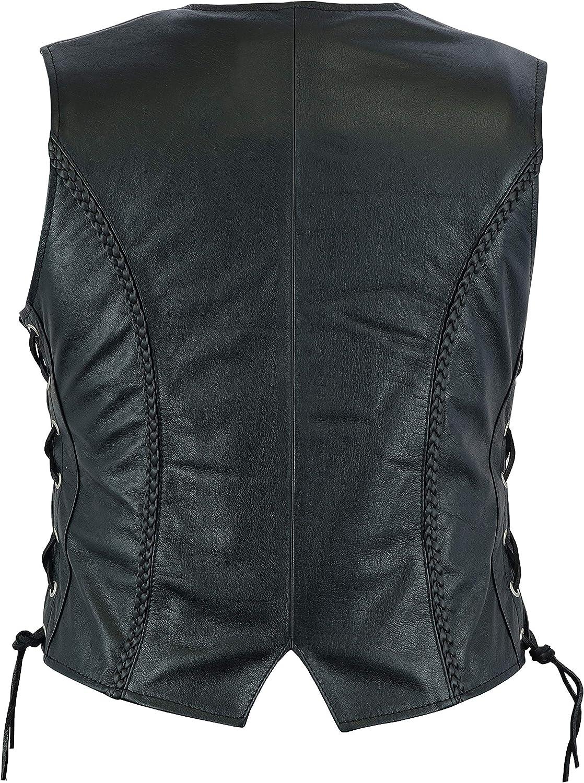 Color Negro para Mujer Leatherick Chaleco de Cuero Trenzado para Motocicleta