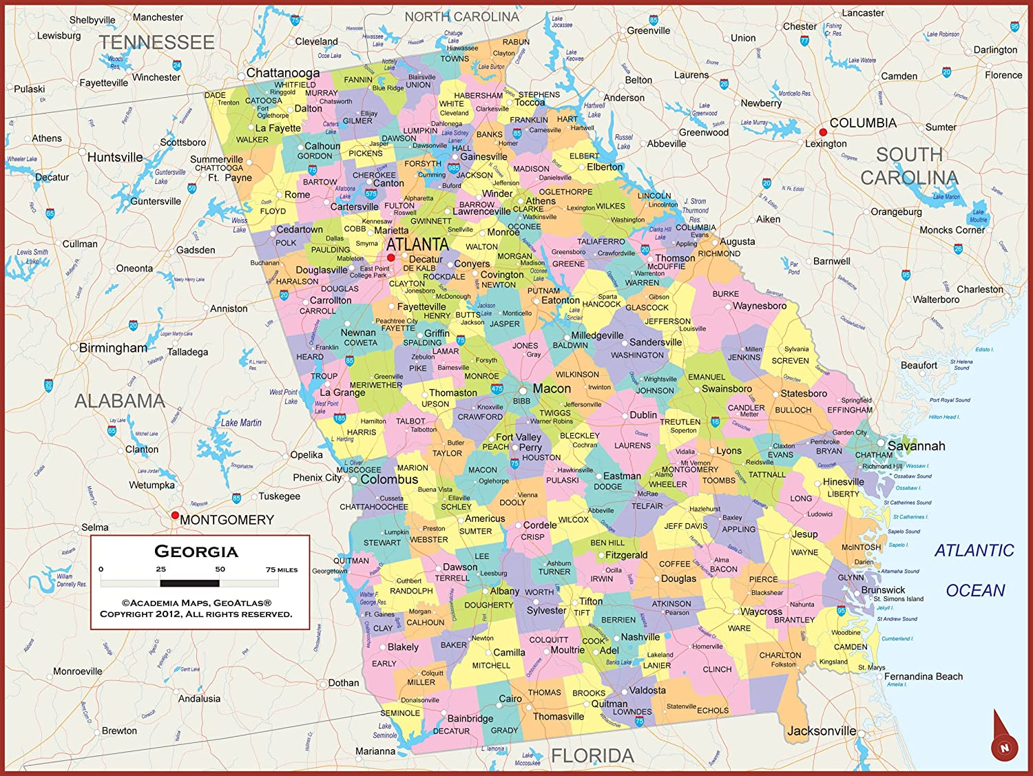 Amazon Com 42 X 32 Georgia State Wall Map Poster With Counties