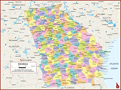 Map Of Georgia Showing Cities.Amazon Com 42 X 32 Georgia State Wall Map Poster With Counties