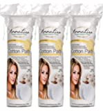 AnnaLisa 100% Pure Combed Cotton Rounds 3 Packs of 80 Hypoallergenic & Absorbing Cotton Pads for Face/Makeup/Nail Polish Removal |240-Piece Italian Round Facial Cleansing|