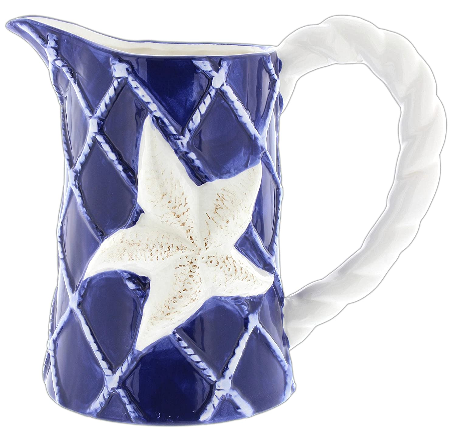 Lucky Winner Blue & White Nautical Starfish Ceramic Pitcher 6-128PTR/1CST