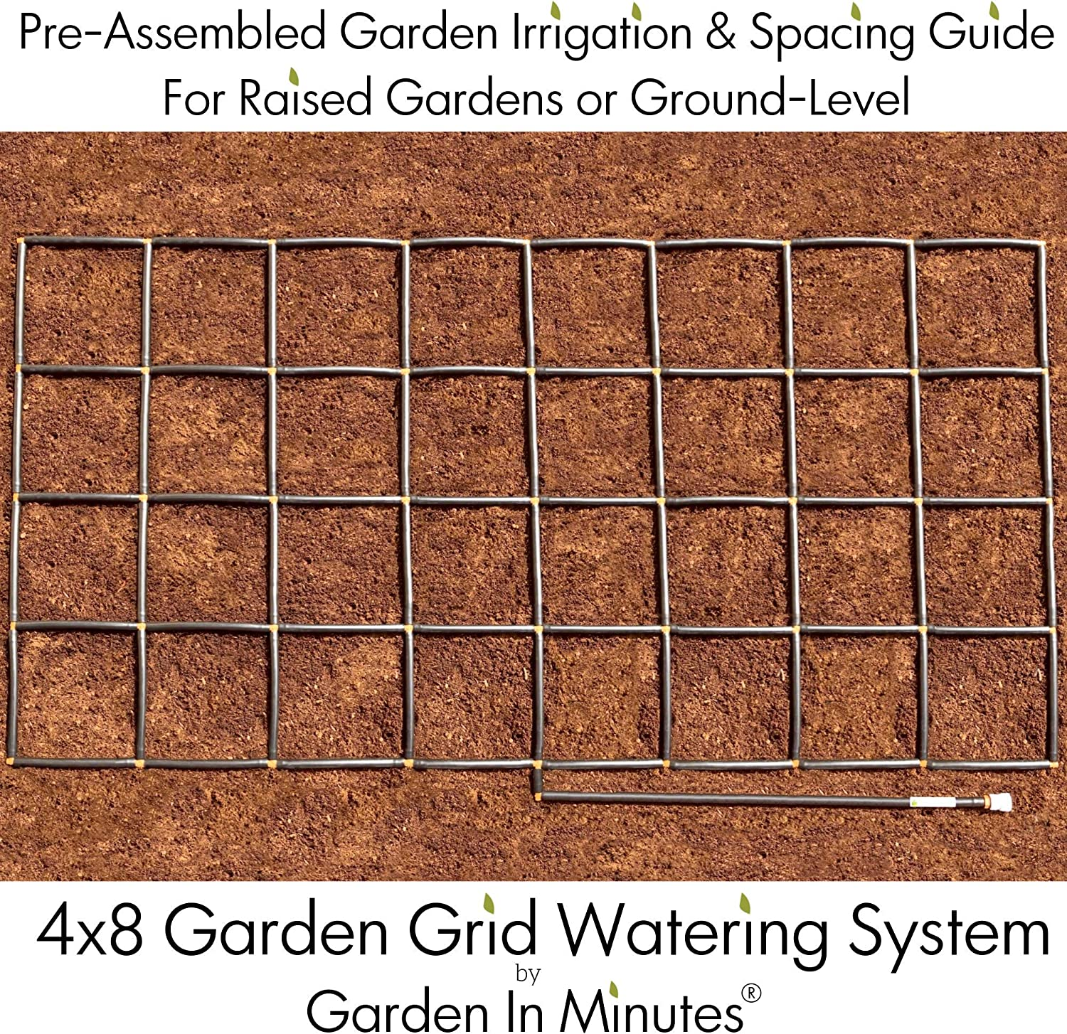 Garden In Minutes Garden Grid Watering System Preassembled Drip Irrigation, Soaker Hose Sprayer Style kit, in one Square Foot Gardening, Raised Beds, Planters or Ground Level – 4×8 44 x88