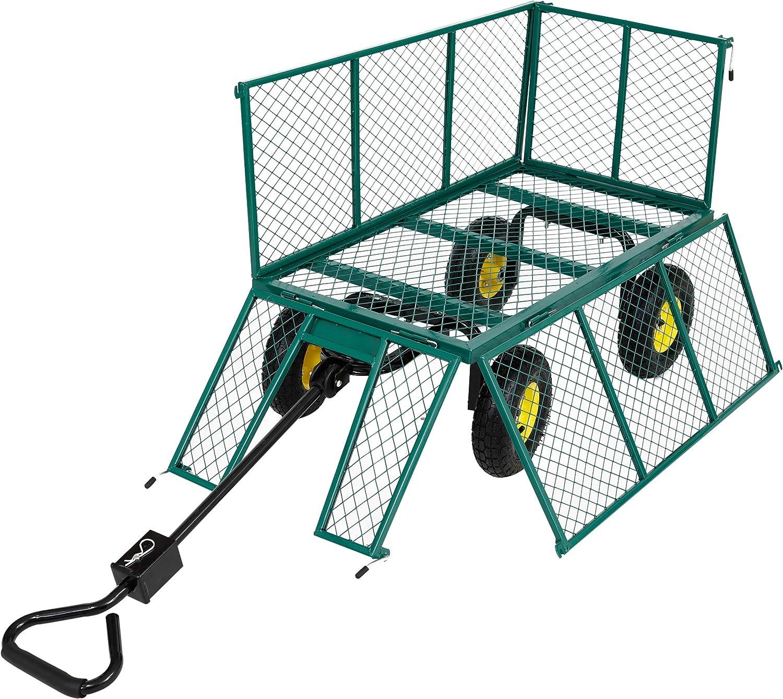 Arebos Gartenwagen 550kg belastbar Bollerwagen Transportwagen Gartenkarre herausnehmbare Plane Ger/ätewagen Handwagen vielseitig einsetzbar