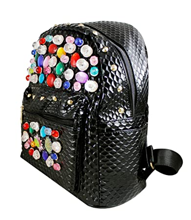 BabyGo Cute Beads Gems Fancy College Backpack Stylish Fashion School Bag  Mini Backpack For Girls