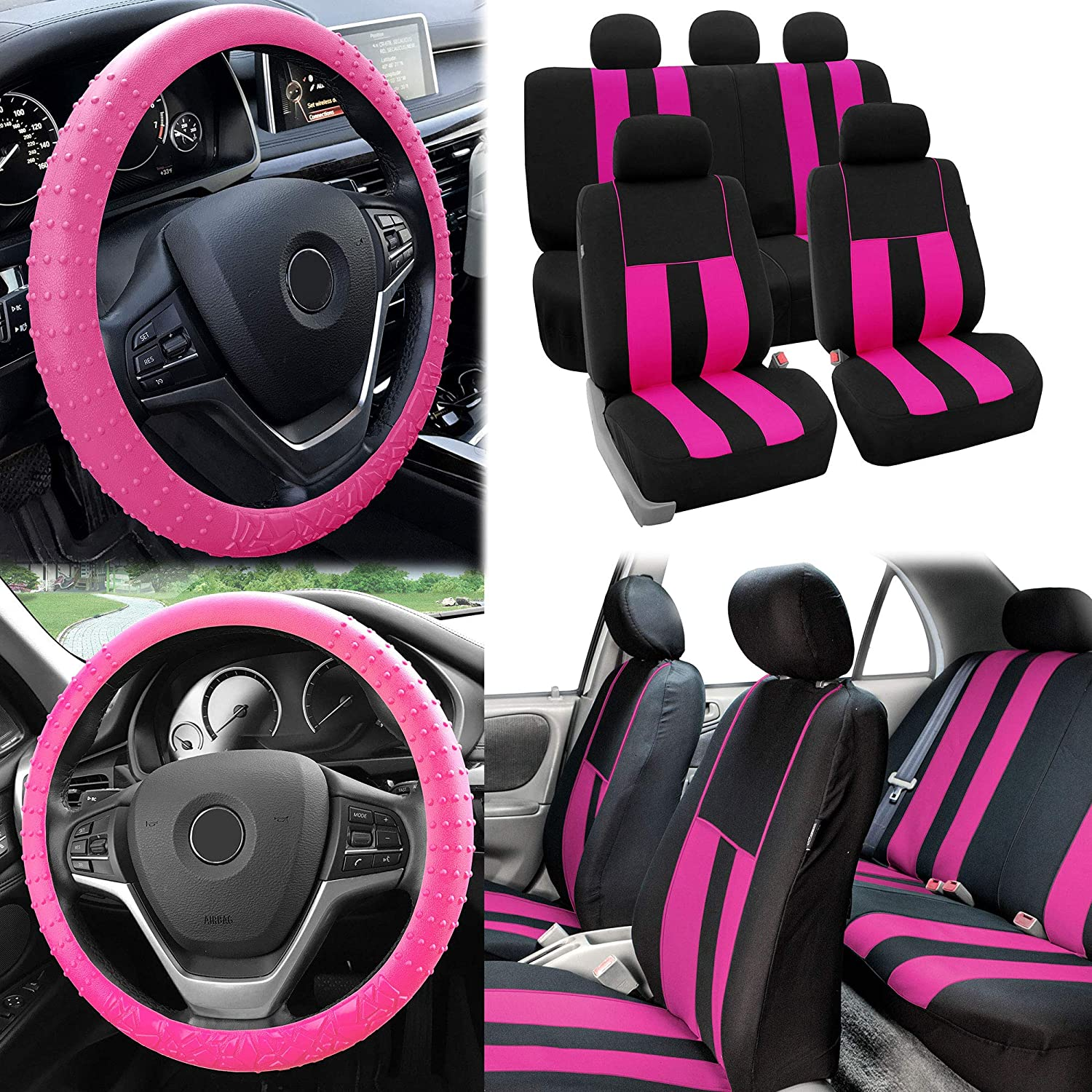 Amazoncom Fh Group Fabric Full Set Seat Covers W Silicone