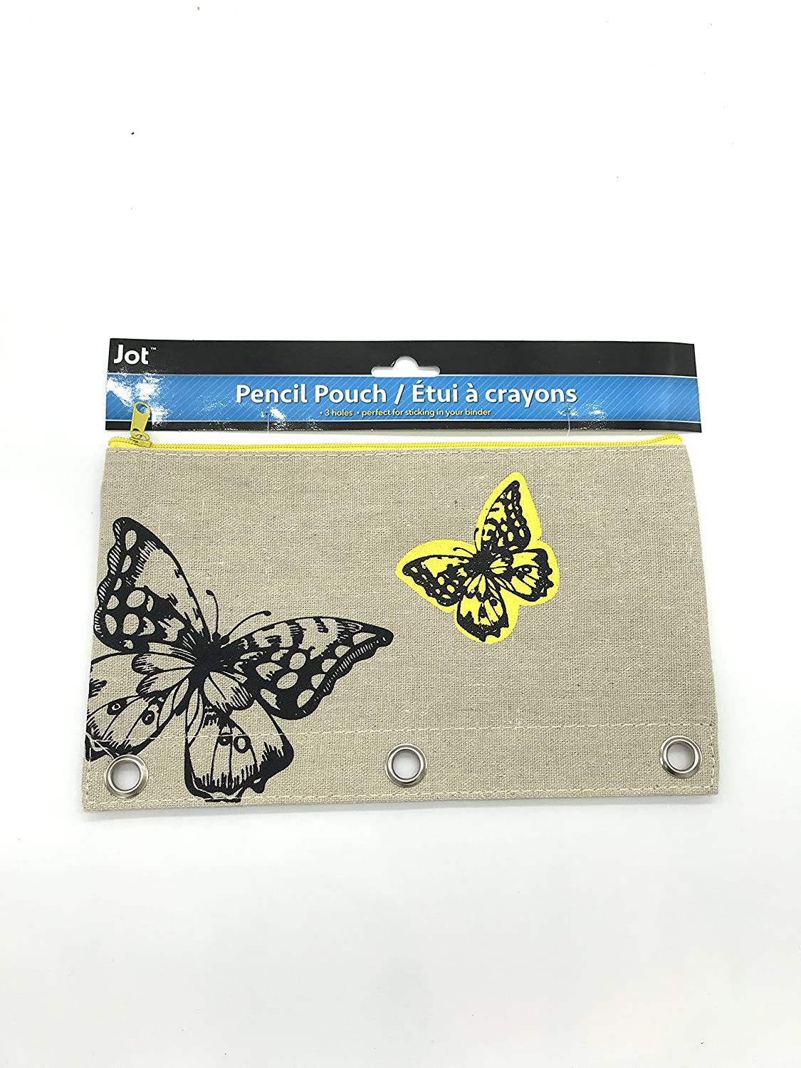Linen Zippered 3 Ring Pencil Holder Pouch Animal Design Yellow Butterfly
