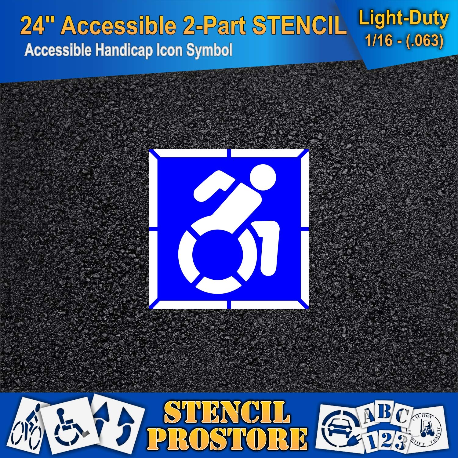 Pavement Stencils - 42 in - Accessible Icon Symbol Stencil with Background (2-Piece) - 42'' x 42'' x 1/16'' (63 mil) - Light-Duty by Stencil ProStore (Image #3)