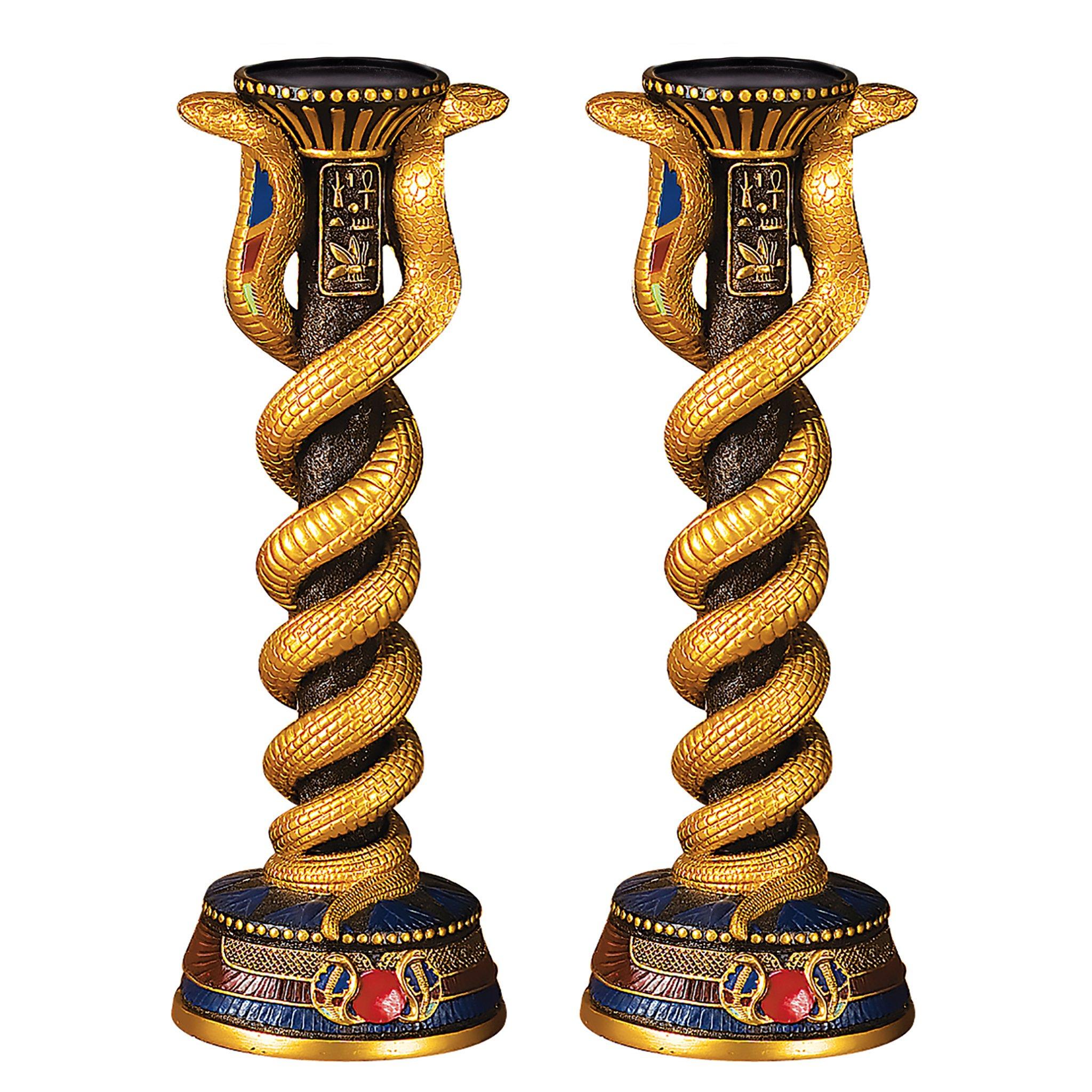 Design Toscano Renenutet, the Cobra Goddess Altar Candlestick and Candle Set of Two