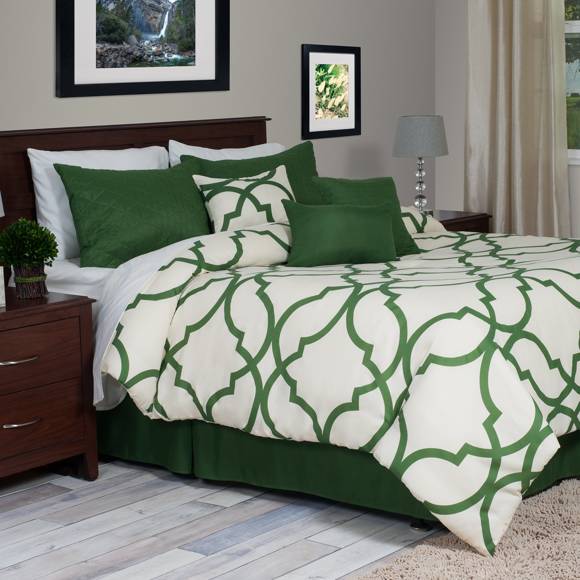Lavish Home 7-Piece Oversized Trellis Comforter Set, King, Green by Everyday Home