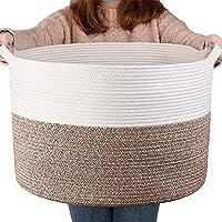 "YEESON Cotton Rope Storage Basket 21.7"" x 21.7"" x 13.8"", Woven Rope Laundry Storage Basket, Blanket Organizer Basket…"