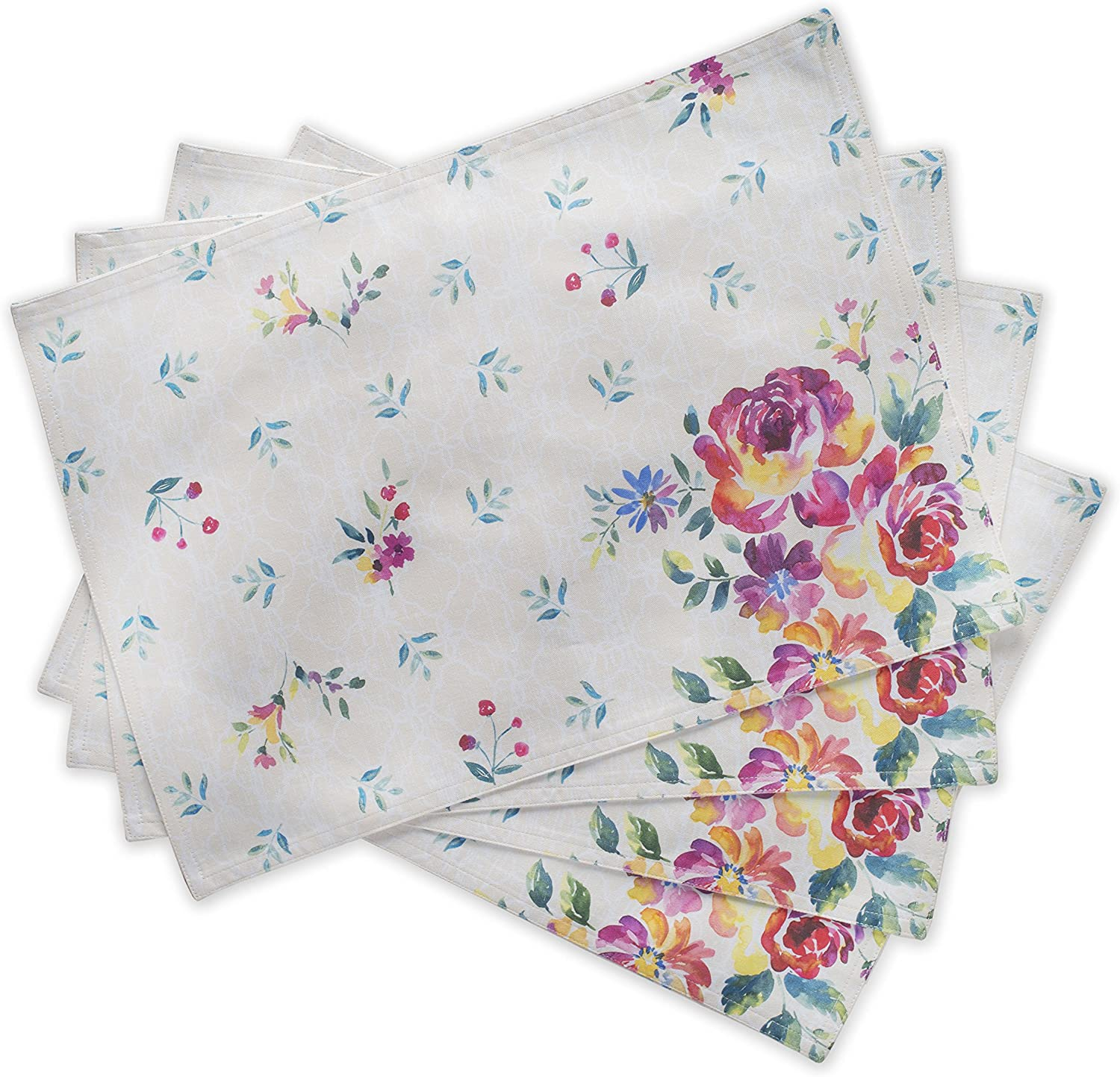 Maison d' Hermine Rose Garden 100% Cotton Set of 4 Placemats for Dining Table | Kitchen | Wedding | Everyday Use | Spring/Summer | Dinner Parties (13 Inch by 19 Inch)