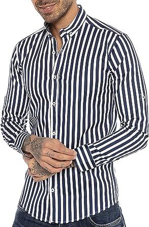 Redbridge Camisa Manga Larga con diseño a Rayas para Hombres: Amazon.es: Ropa y accesorios