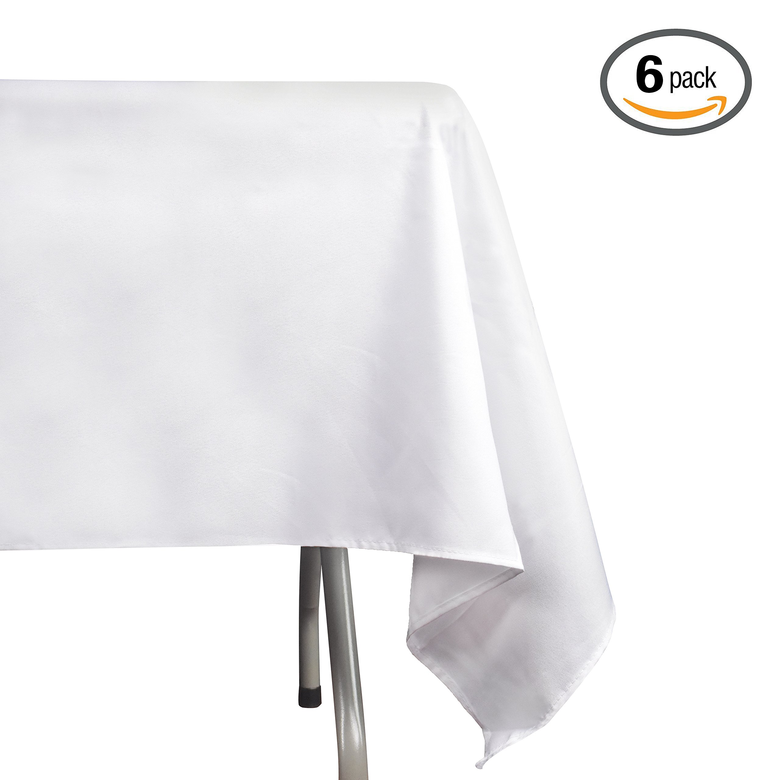 EMART Rectangle Tablecloth, 60 x 102 inch White 100% Polyester Banquet Wedding Party Picnic Rectangular Table Cloths (6 Pack)