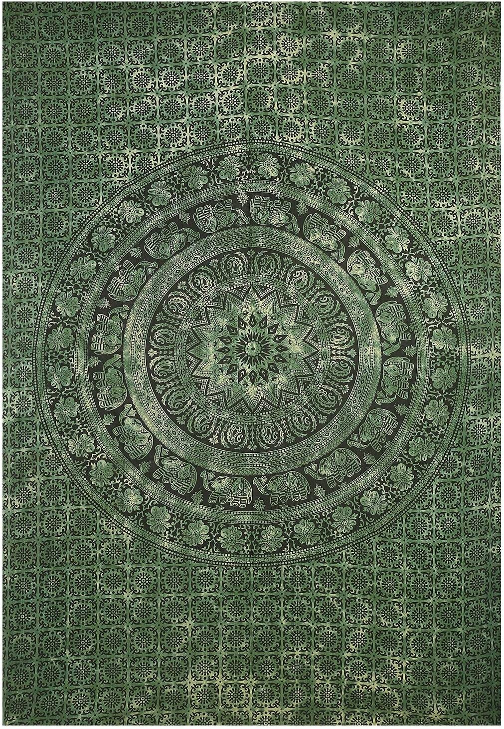 Olive Green Tie Dye Twin Tapestry Hippie Wall Hanging Art Decor Single Mandala Elephant Tapestry Hippie Dorm