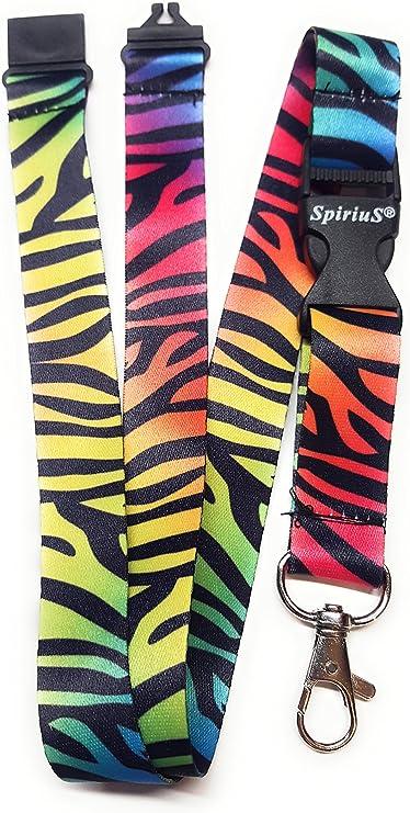 Spirius Correa para el cuello para colgar tarjetas de identificación o llaves, color Cebra: Amazon.es: Oficina y papelería