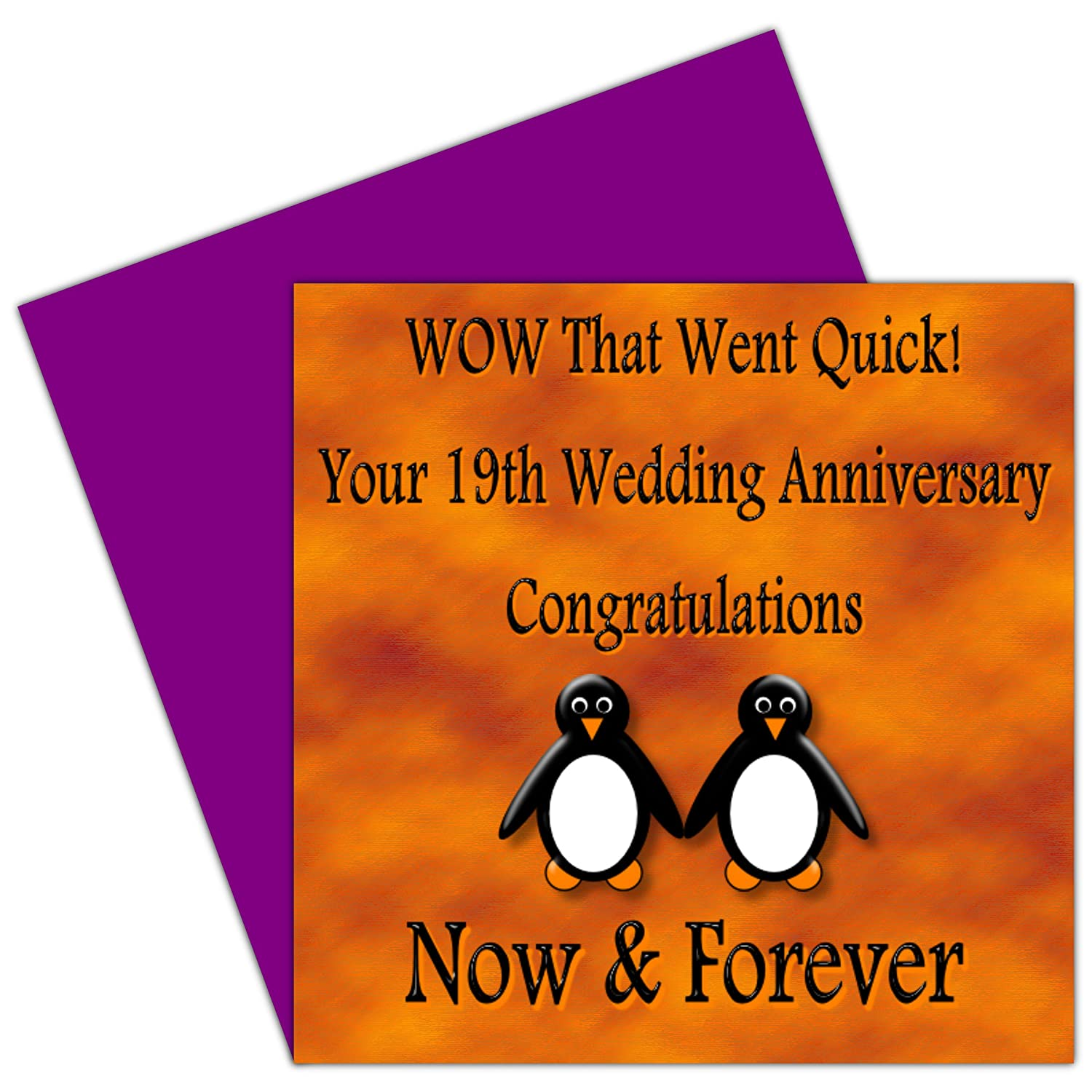 On Your 19th Wedding Anniversary Card 19 Years Bronze
