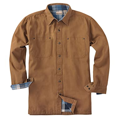 c5922141c4cd8 Backpacker Men's Canvas Shirt Jacket with Flannel Lining, Brown, Small