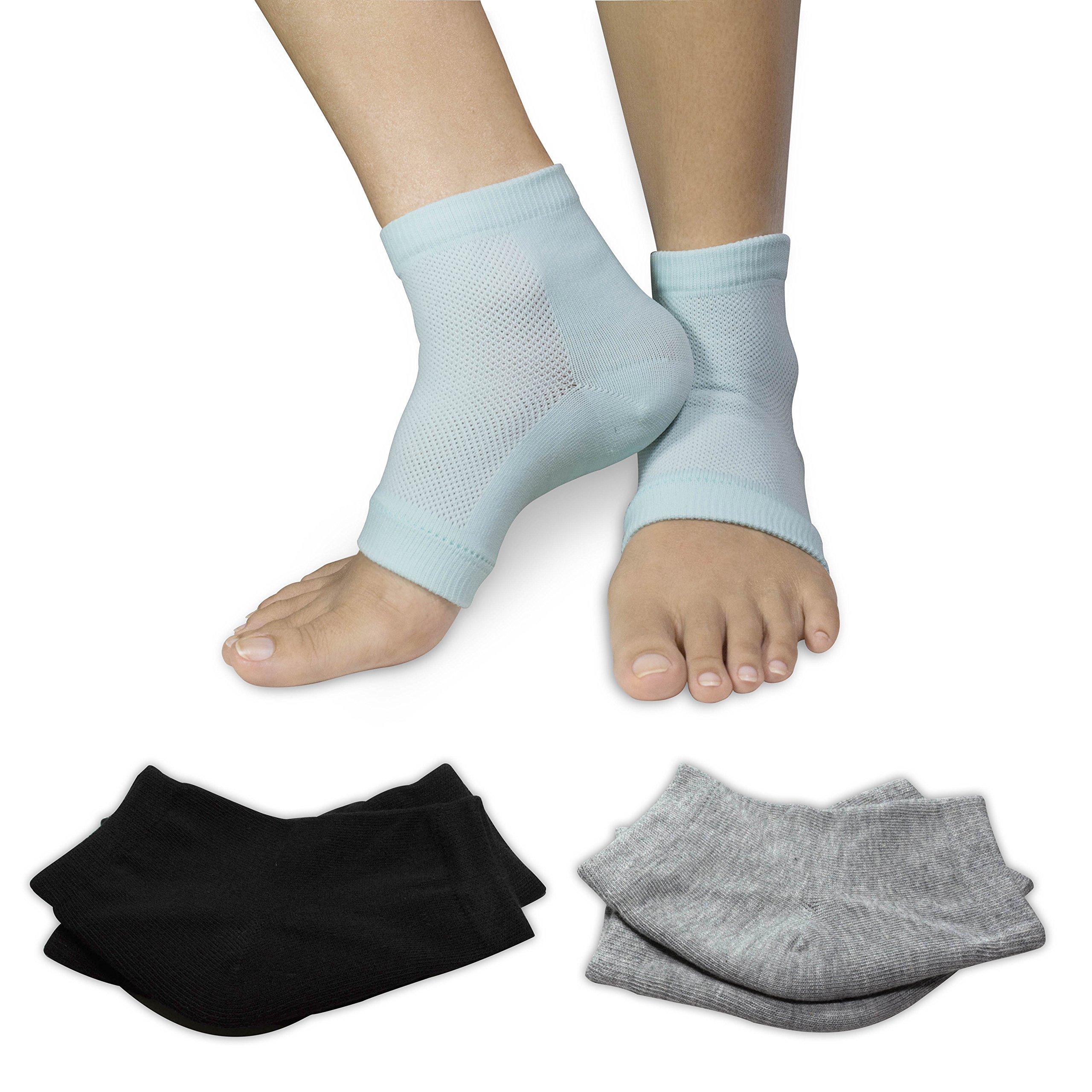 3 PAIRS-Moisturizing Gel Heel Socks w/ Enriched Vitamins for Dry Hard Cracked Heels & DIY Simple Home Remedies by Triim Fitness by Triim Fitness (Image #2)