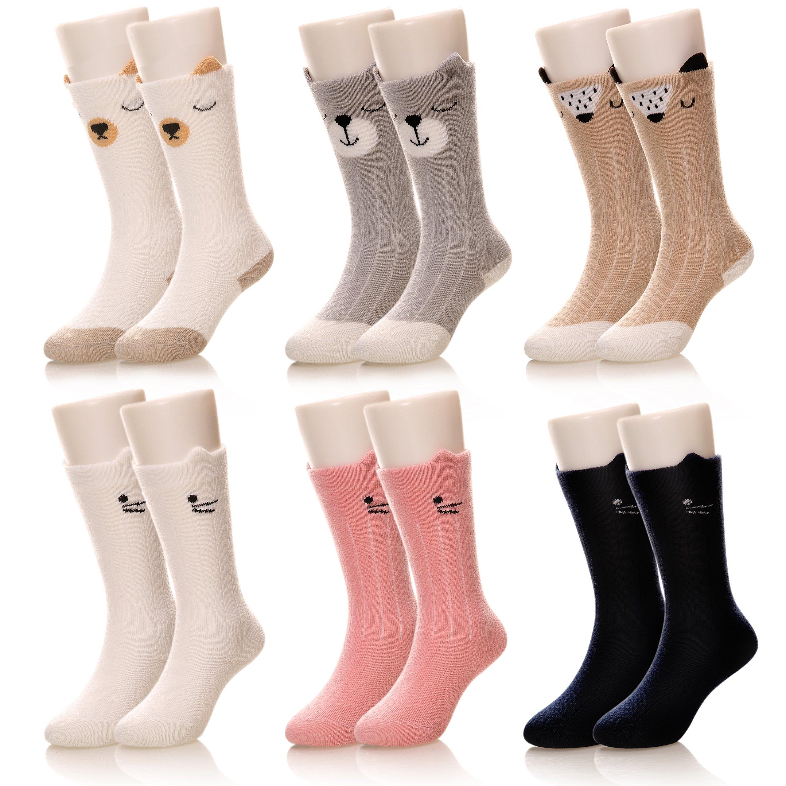 Eocom Kids Girls Boys Cute Animal Casual Knee High Cotton Socks 6 Pairs (0-1 Years, 6 Pairs Cat/Bear)
